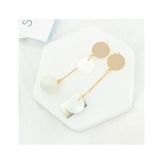 LRC Anting Tusuk Fashion Ball Shape Decorated Geometry Design Color Matching Earrings.