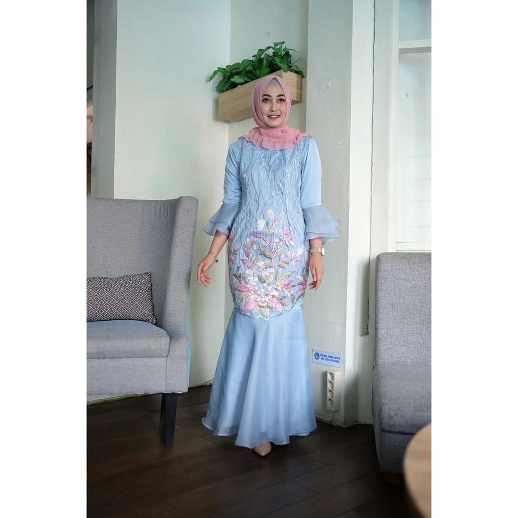 Dress Gamis Duyung Brokat Prada Lengan Organza Modern Shopee Indonesia