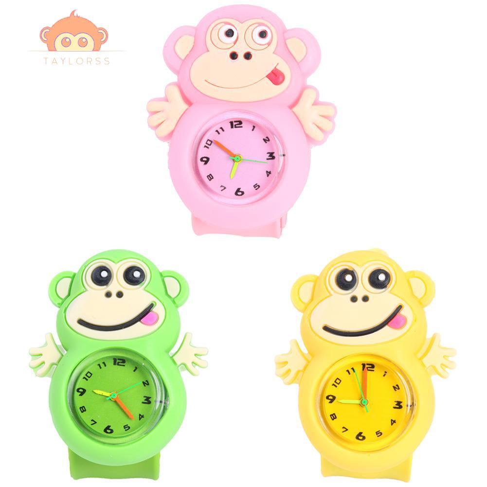 Jam Tangan Quartz Analog Dial Bulat Gambar Kartun Monyet Lucu Untuk Hadiah