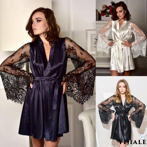 Women Satin Silk Kimono Dress Wedding Gown Bathrobe Sleepwear Lingerie Nightwear