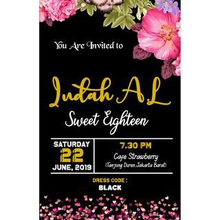 Undangan Sweet Seventeen Black Undangan Ulang Tahun