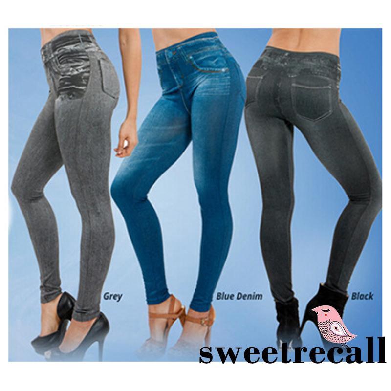 Women Pencil Pants High Waist Printed Leggings Stretchy Slim Jeans Trousers ILC