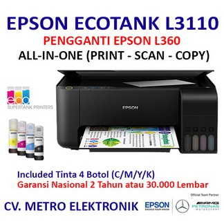 PRINTER EPSON L3110 PENGGANTI L360 PRINT SCAN COPY