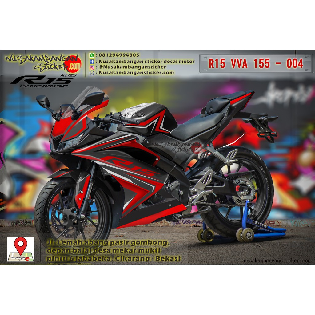 Decal motor sticker motor honda du cbr150r hitam biru dongkerr shopee indonesia