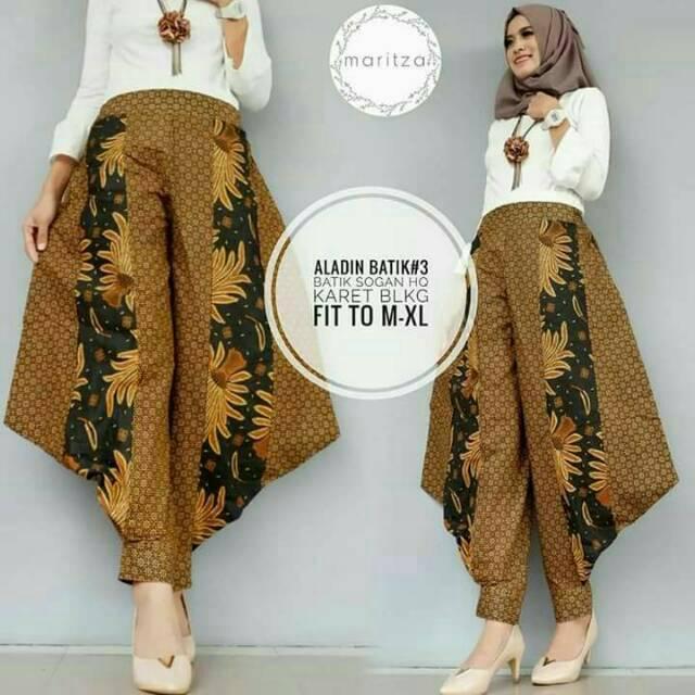 Celana Aladin Batik Seling Panjang Kulot Sogan Wanita Hijab Modern Kondangan Casual Cullote Modern
