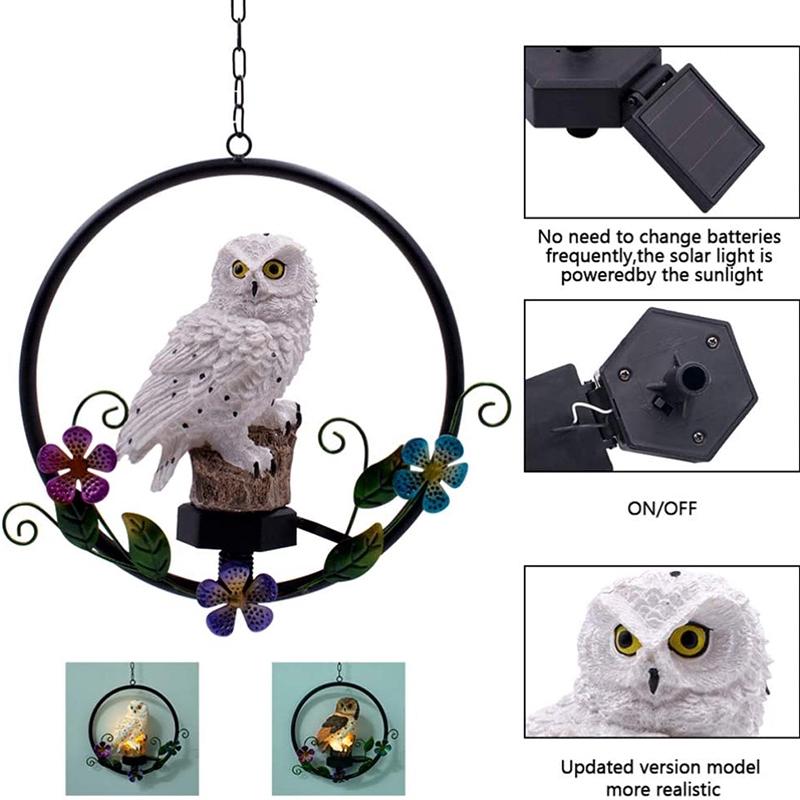 Led Solar Power Owl Hanging Lamp Powered Pathway Waterproof Lights Decorative Outdoor Lawn Yard Garden Decorative Light Shopee Indonesia