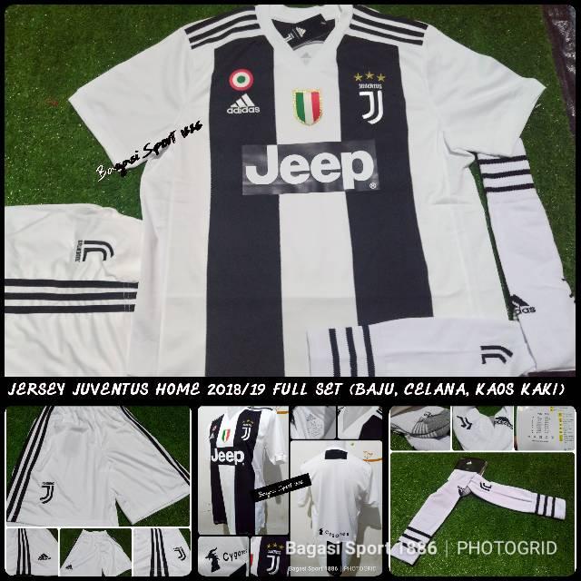 2361c263e Jual Jersey Baju Bola Juventus Grade Ori Home Juve 2018 2019 18 19 Full  Stel Set Celana kaos kaki