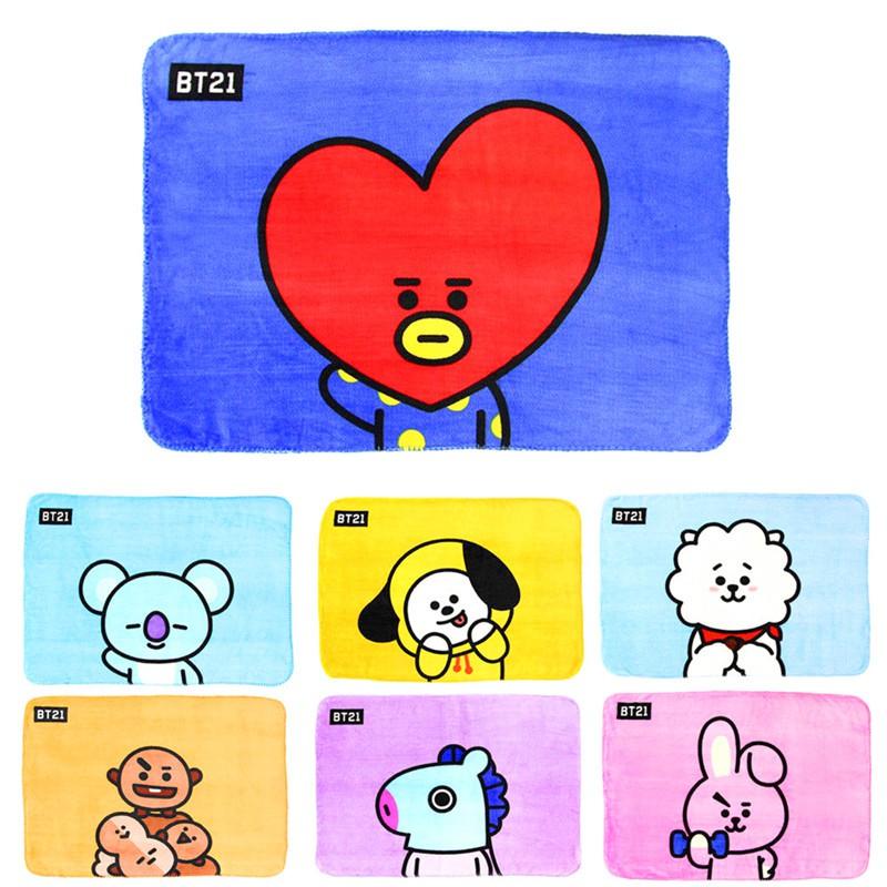 Bayar Di Tempatkain Flannel Lembut Gambar Kartun Kpop Bts Bt21