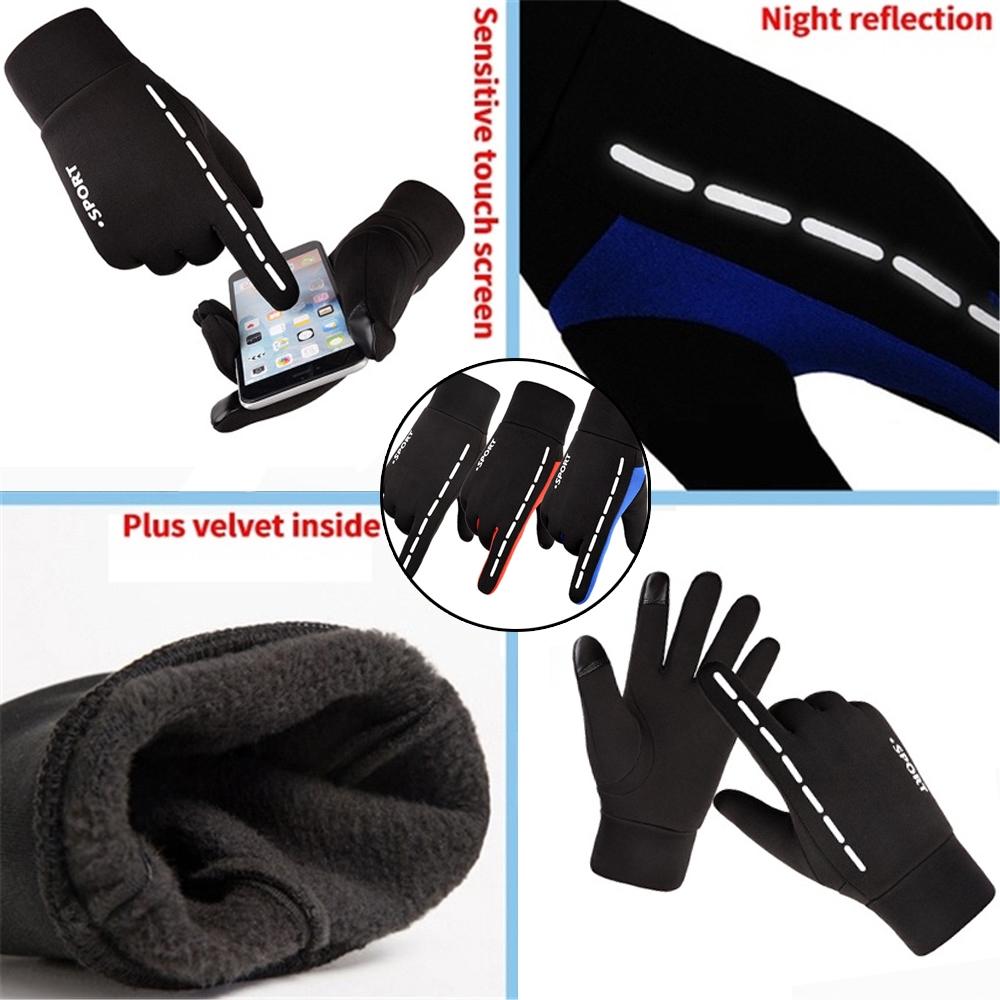 Men Women Reflective Sport Gloves Thermal Walking Sports Running Screen Touch
