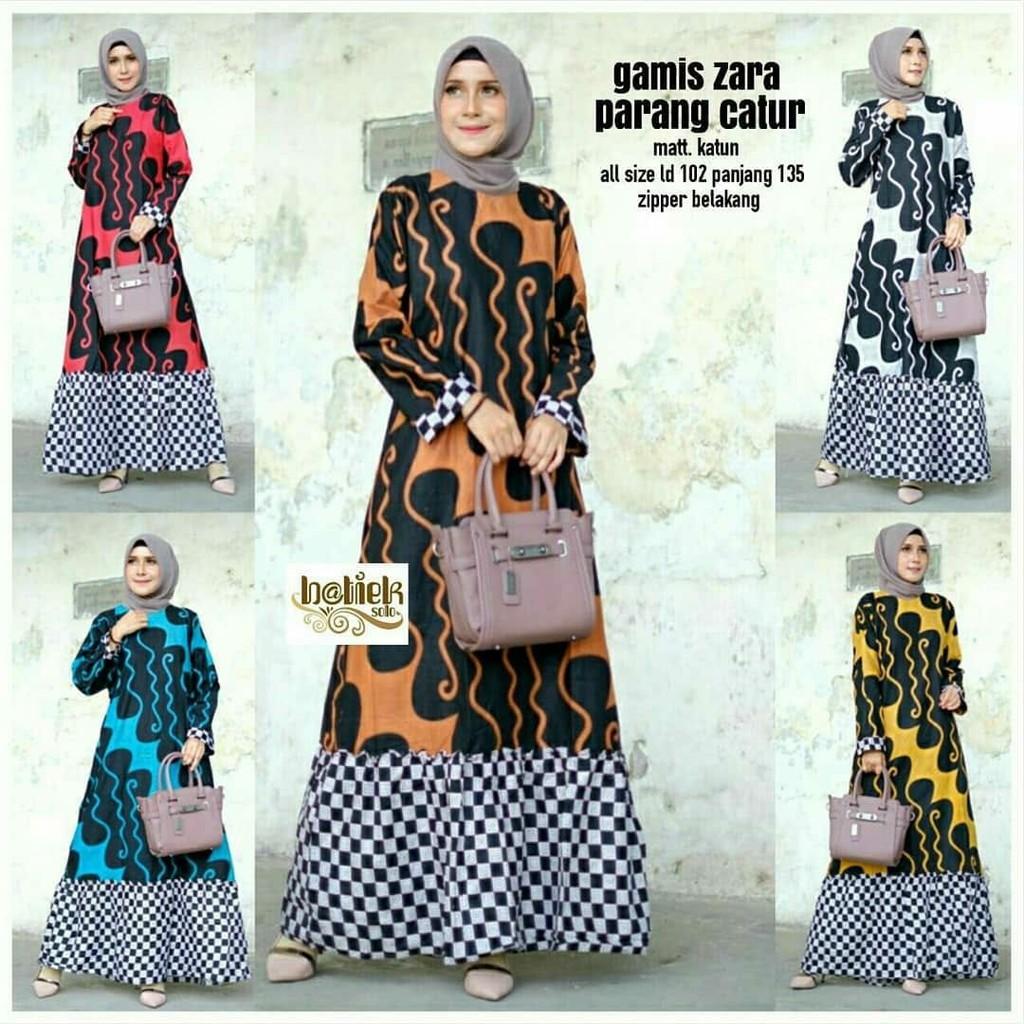 Batik Gamis Dress Muslim Original Solo Blouse Zara Parang Catur