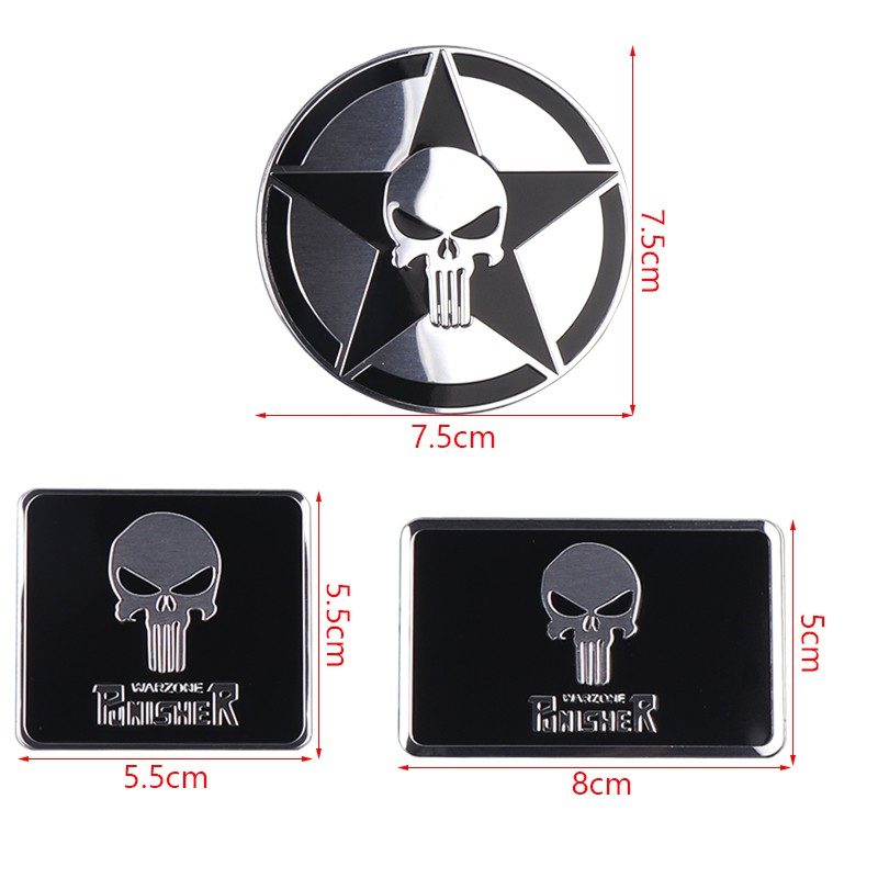 Car 3D Metal Punisher Sticker Auto Body Decorate Decal Emblem Motorcycle Badage