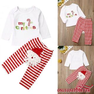 Toddler Christmas Outfit.Only Toddler Baby Girl Long Sleeve Tops Santa Pants Christmas Outfit 2pcs Clothes