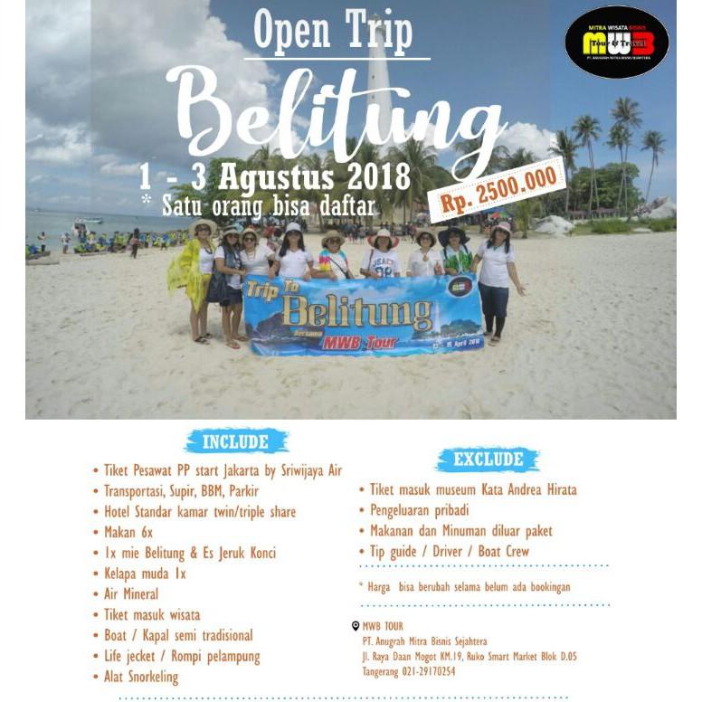 Open Trip Paket Wisata Belitung 3 Hari 2 Malam
