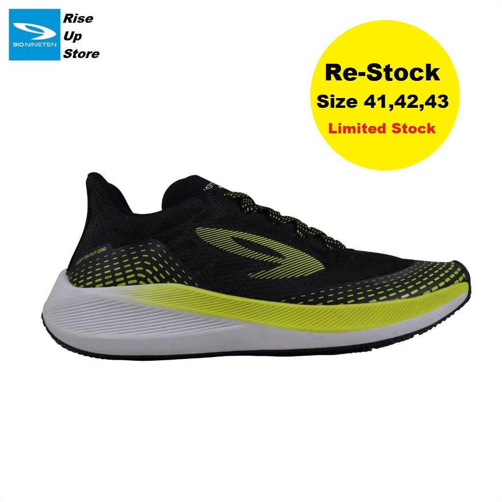 910 Nineten Haze Sepatu Running - HAZE 1.5 HITAM/HIJAU NEON/PUTIH
