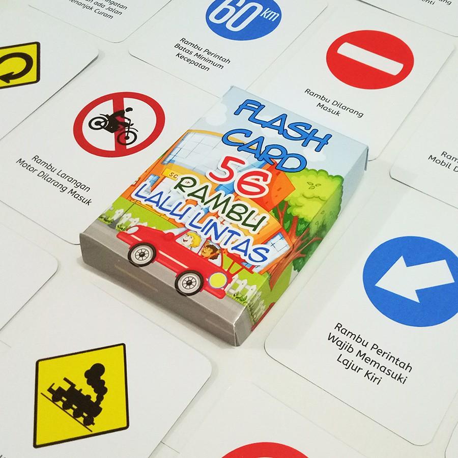 Flashcard Anak 56 Kartu Rambu Lalu Lintas
