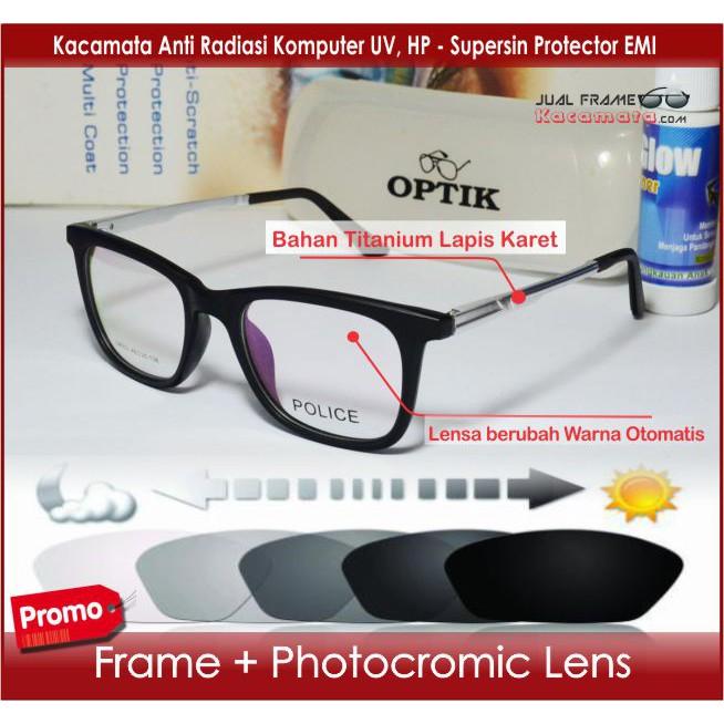 Frame Kacamata Minus - Lensa Photocromic Berubah Warna Otomatis Photogrey -  Bulat Hitam Pria Wanita  02575c1272