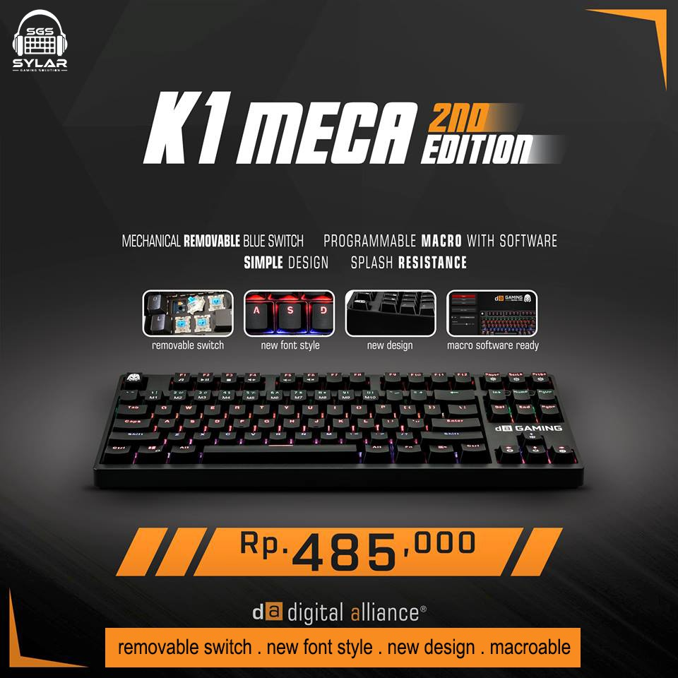 85efee3ad63 Digital Alliance K1 Meca TKL 2,7 RGB Keyboard Gaming | Shopee Indonesia