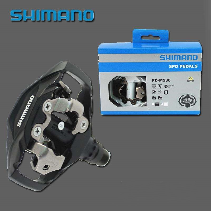 Shimano DEORE PD-M530 MTB Mountain Bike Clipless Pedals /& SM-SH51 Cleats Black