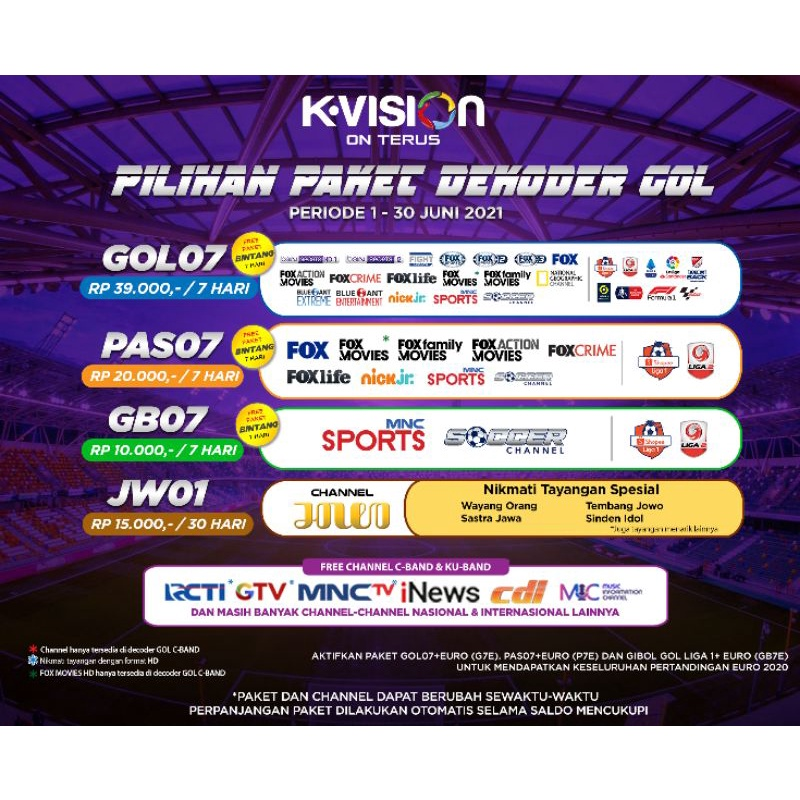 Paket Reguler K-Vision Receiver GOL Gardiner Optus LGsat