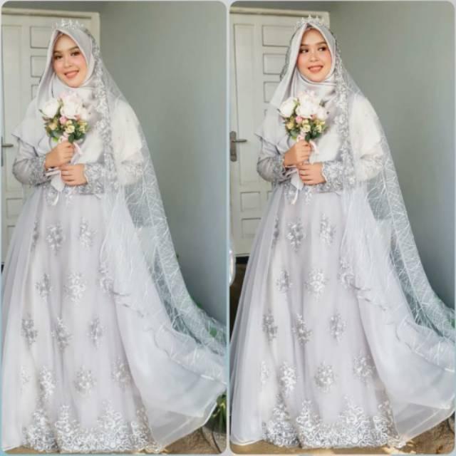 Gaun Pengantin Muslimah Syar I Modern Grey Wedding Dress Muslimah Shopee Indonesia