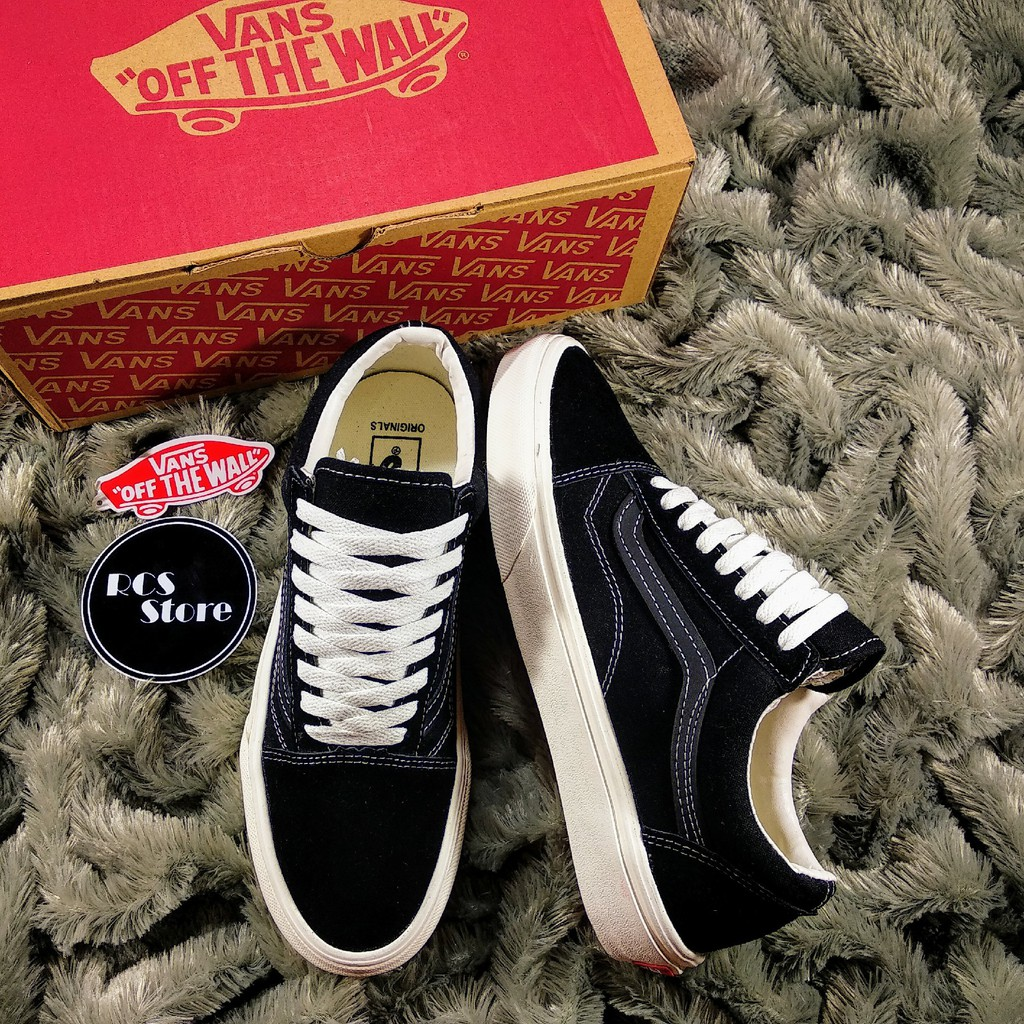 SEPATU VANS OLDSKOOL OG BLACK ASPAC BLACK WHITE PREMIUM DT BNIB FULL TAG BARCODE MADE IN CHINA