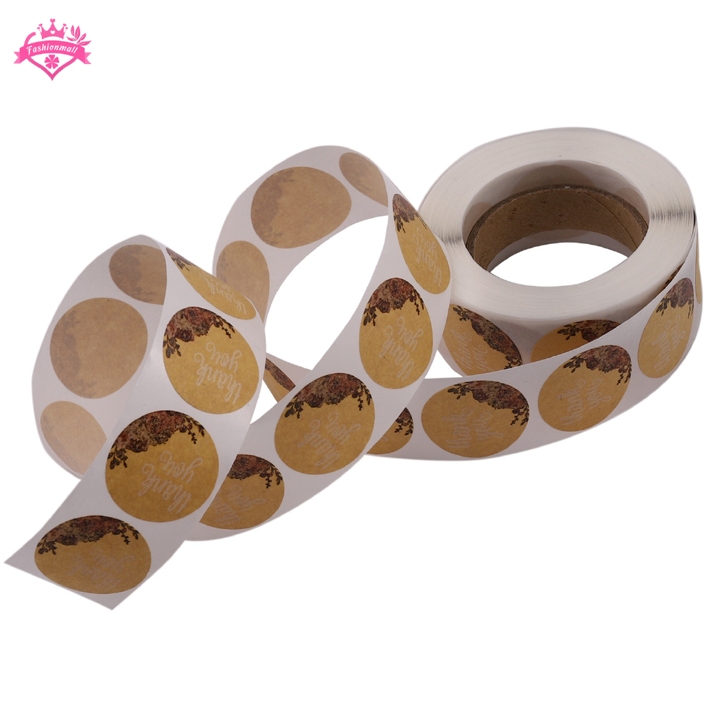 Kraft Floral Thank You Stickers 1inch Circle Labels 1000 Per Pack Shopee Indonesia