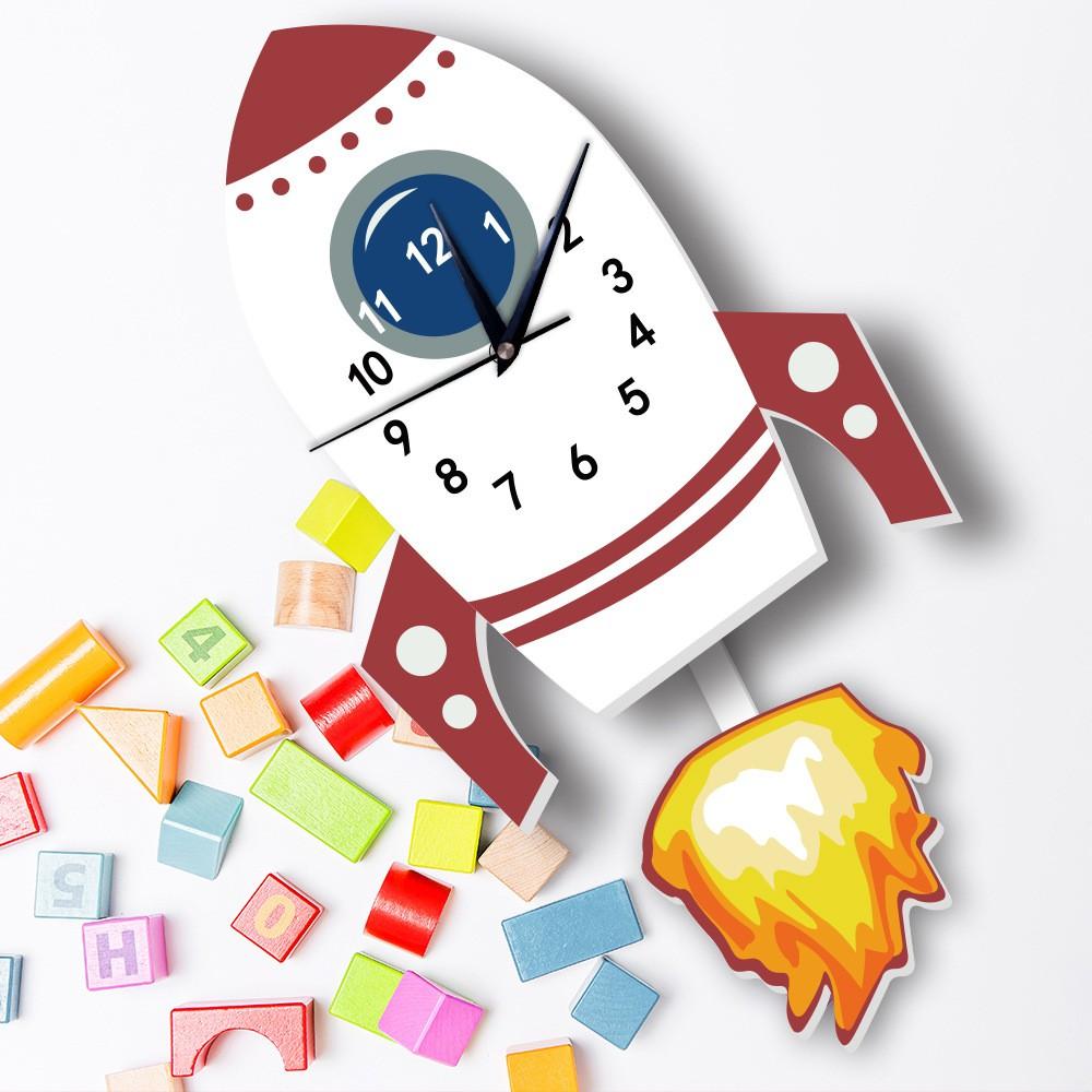 ★MIXIQI★ Jam Dinding Bentuk Roket Kartun Untuk Dekorasi Rumah Kamar Tidur Anak