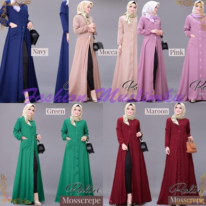 Dress Murah Gamis Kancing Depan Baju Muslim Wanita Raline Maxi Shopee Indonesia