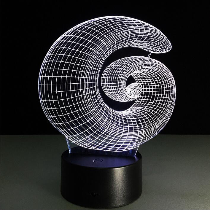Lampu Meja LED Desain Ilusi Abstrak 3D dengan 7 Warna c71