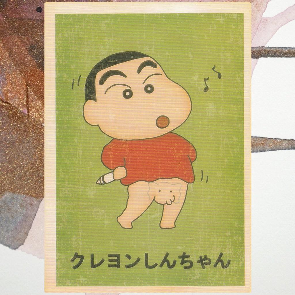 Kartu Pos Postcard Vintage Cartoon Kartun Sinchan