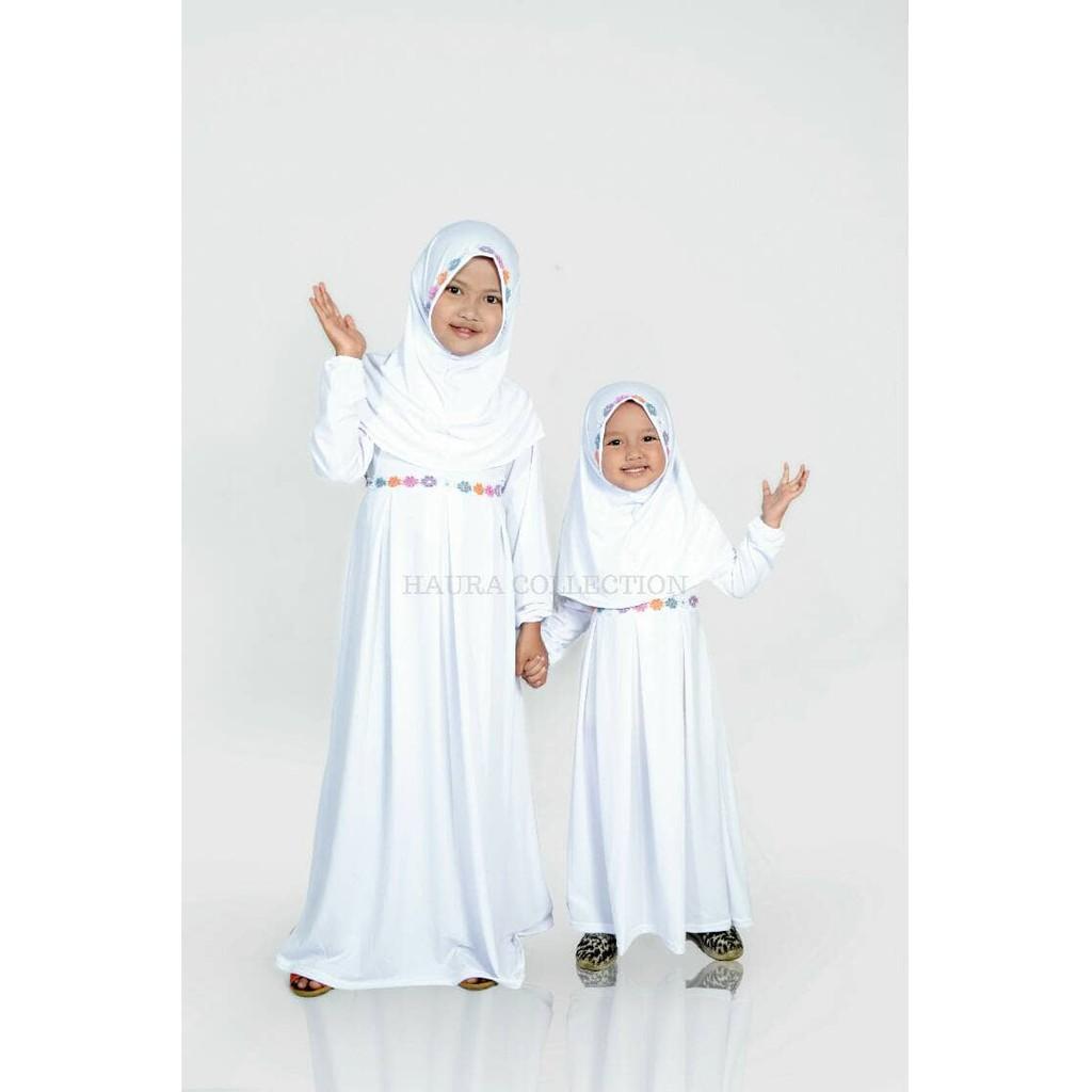 Baju muslim anak perempuan umur 9 - 90 tahun/gamis anak perempuan warna  putih umur 9 & 90 th