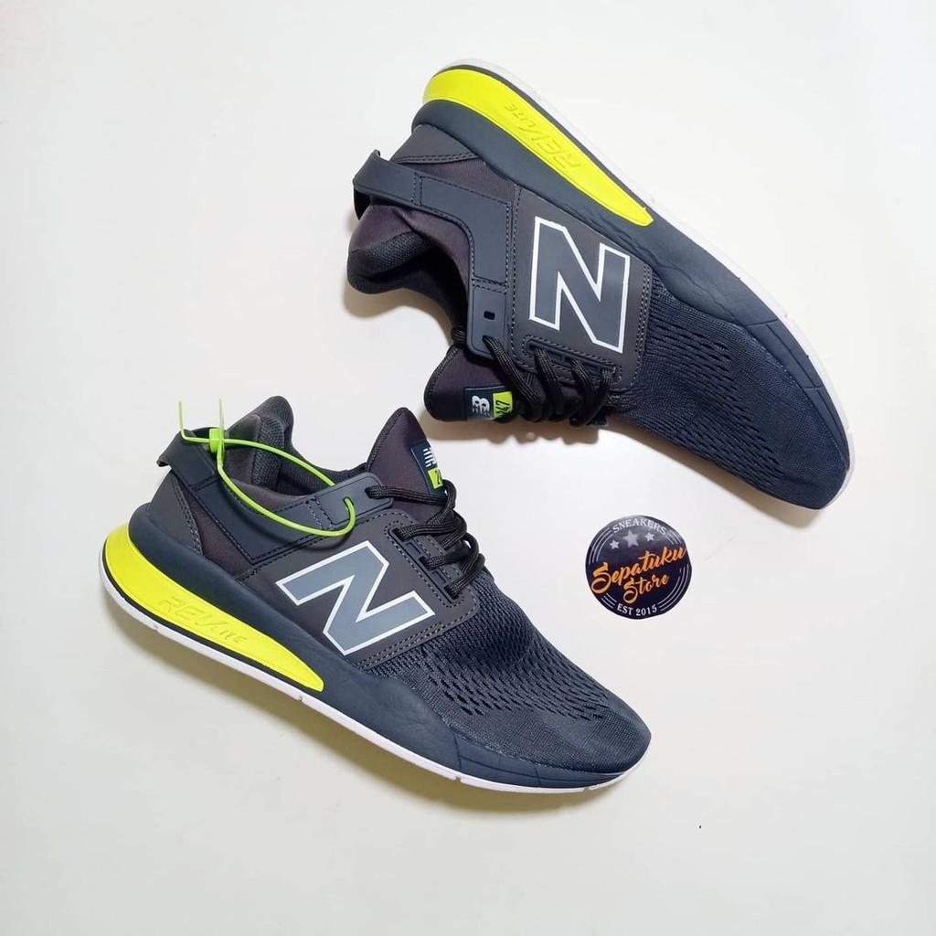Sepatu New Balance 247 Tritium Pack Dark Grey Neon Green