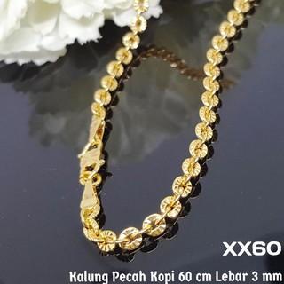 Xx60 Kalung Pecah Kopi Panjang - Perhiasan Imitasi Xuping Lapis Emas Murah Berkualitas. suka:
