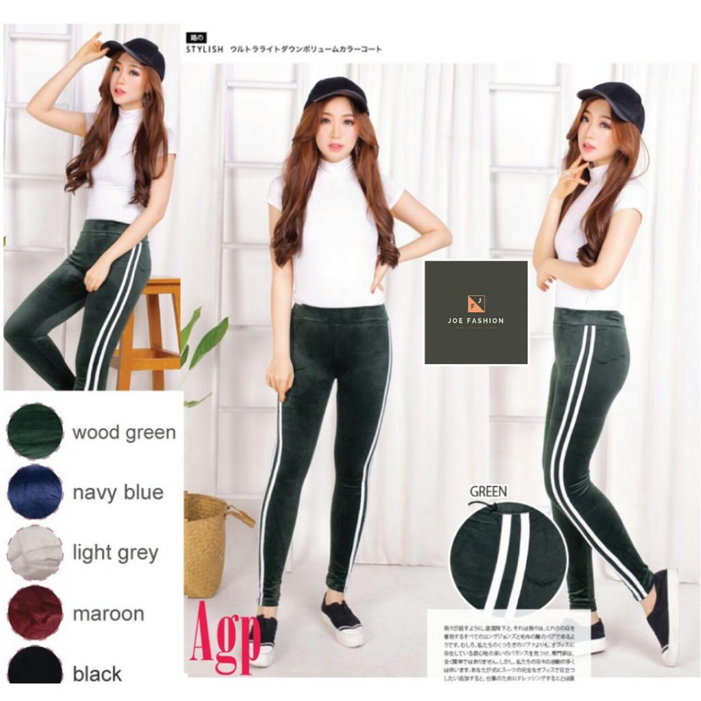 Joe Legging List Bludru Jumbo Velvet Stripe Import Celana Legging Bludru Fashion Leging Bludru Shopee Indonesia