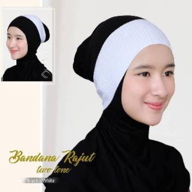 Bandana Rajut 2 Warna / Inner Rajut 2 Warna / Ciput Rajut 2 Warna / Inner Anti Pusing/ Inner Hijab
