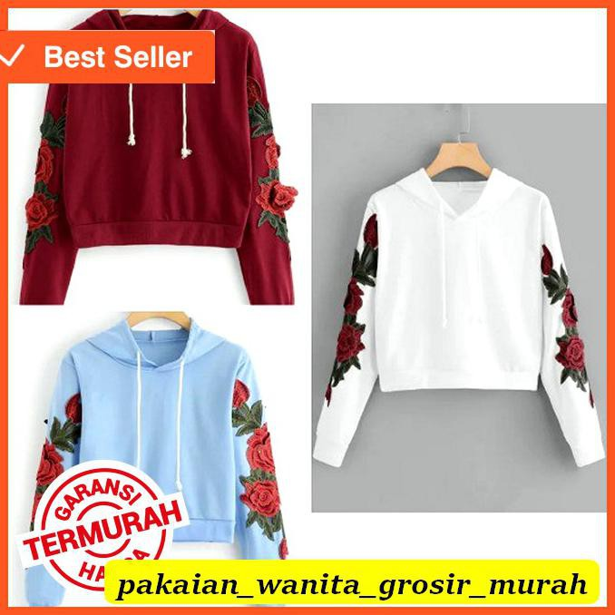 ASIAfashion Sweater Wanita Crop Hoodie Sablon Bunga Mawar Tangan | Shopee Indonesia