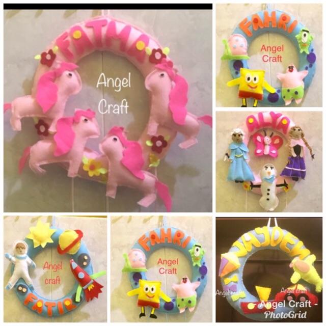 Angel Craft Gantungan Pintu Flanel Hanging Door Flanel Tema Kendaraan Kuda Poni Frozen Spongbob Shopee Indonesia