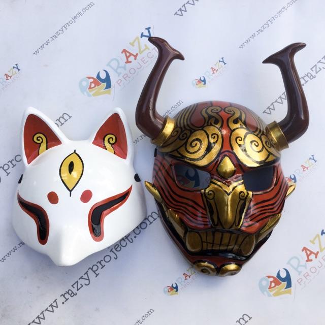Free Fire Oni Kitsune Sakura Skin Game Mask Topeng Kayu Cosplay Anime Jepang Shopee Indonesia