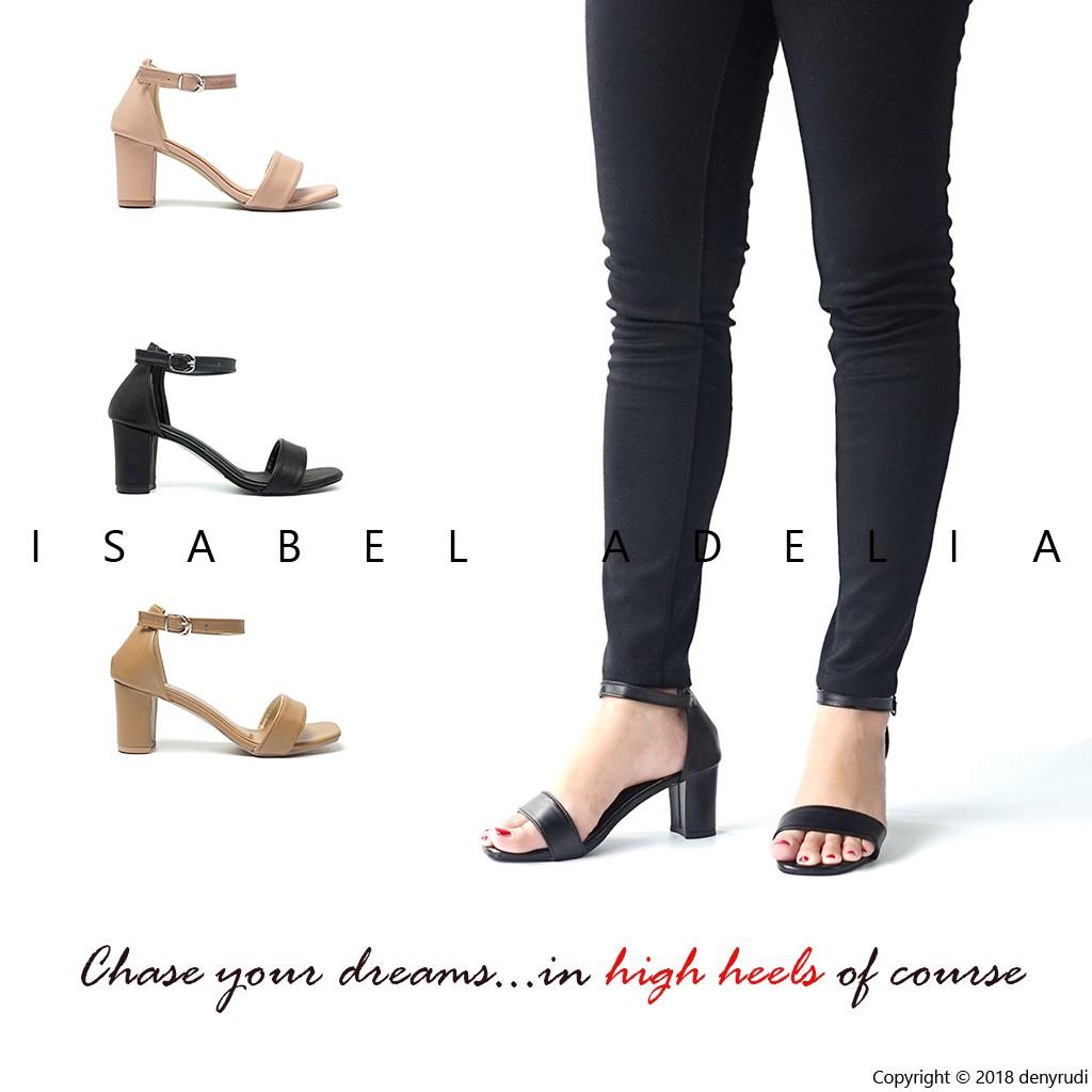 Isabel Adelia - SELENA Block Heels Wanita Hak Tahu CasualHitam Coklat   Shopee Indonesia
