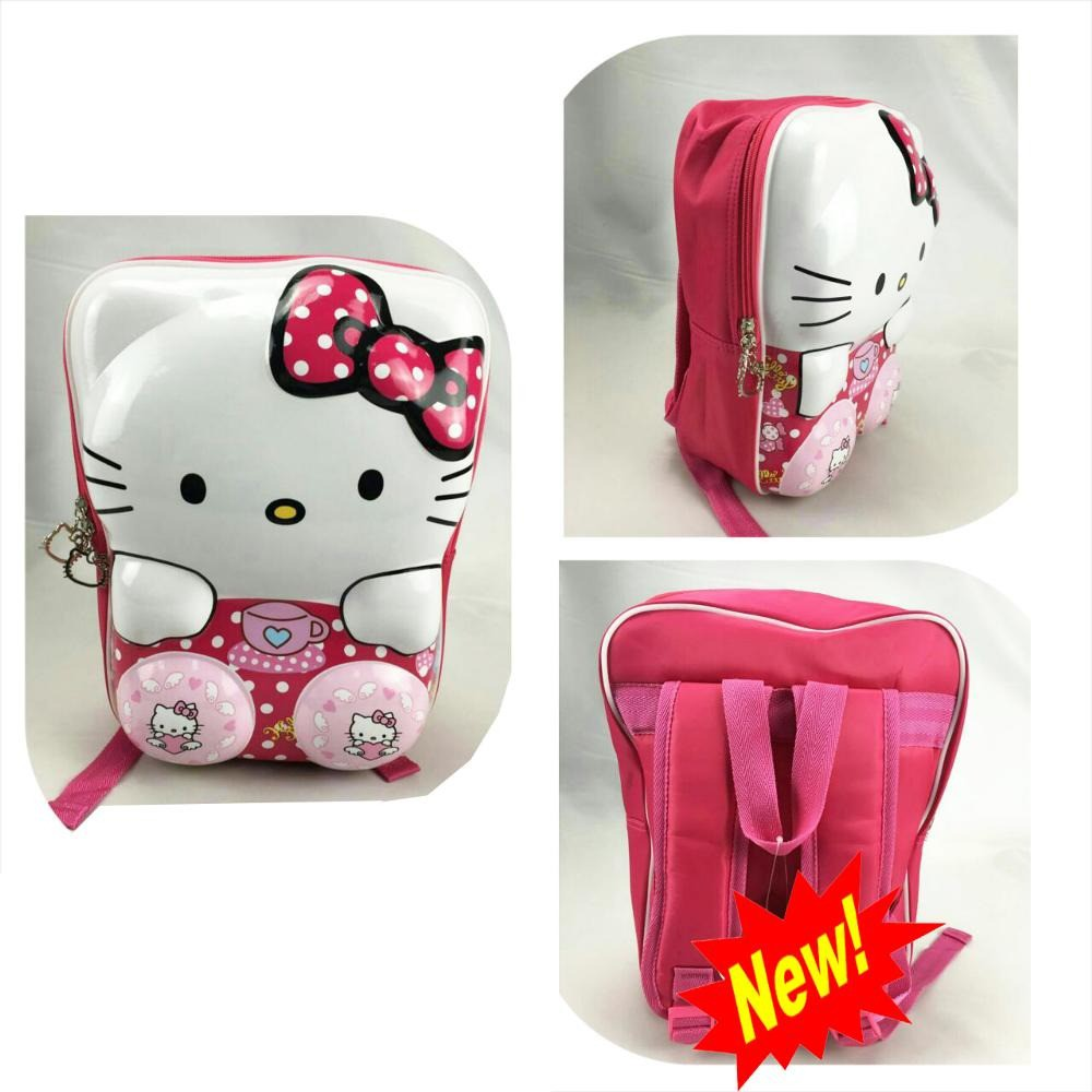 Tas Ransel Anak Sekolah TK / PG Hello Kitty Pita Soft Hard Cover 6D Import PINK MUDA   Shopee Indonesia