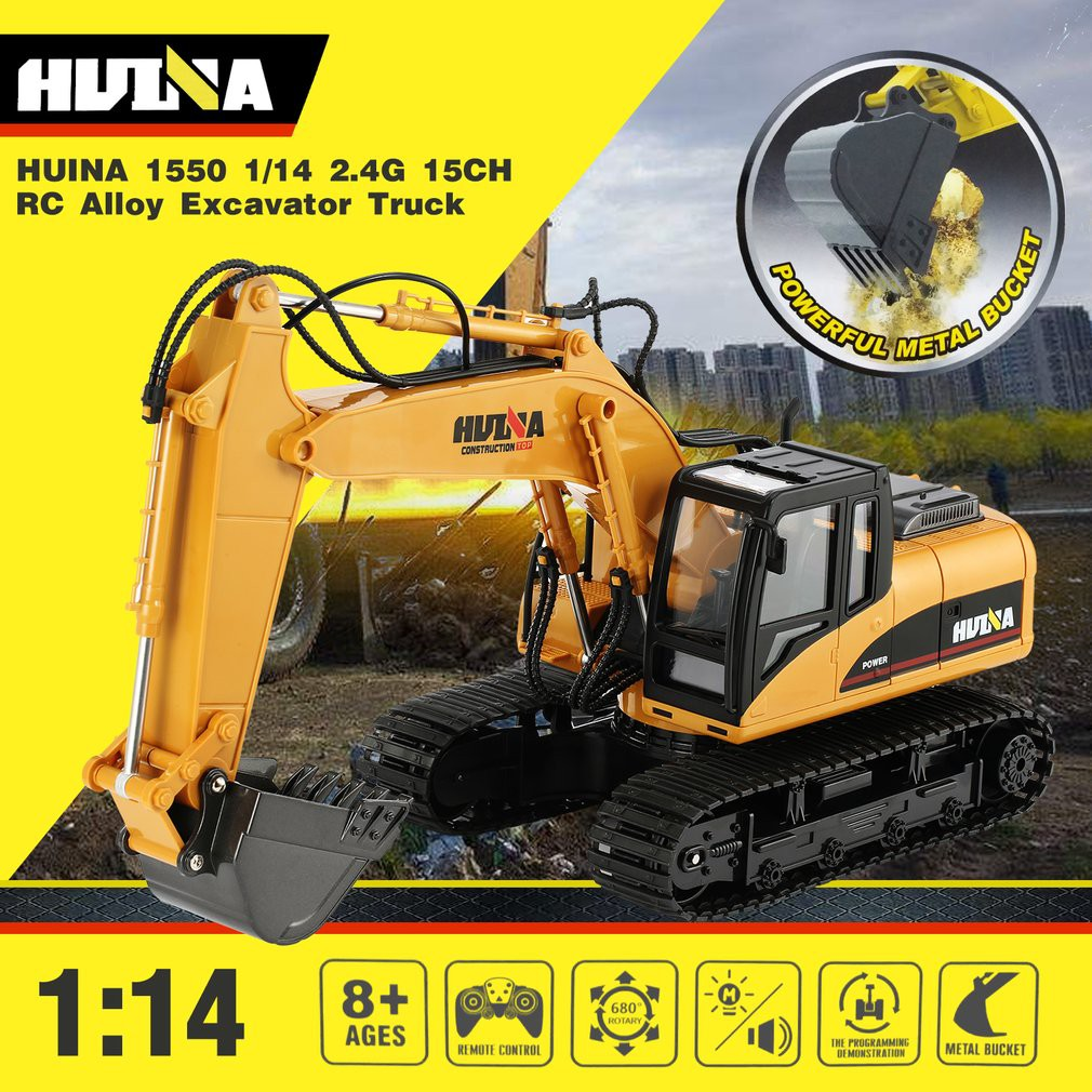 HUINA 1550 1:14 2.4GHz 15CH RC Alloy Excavator RTR with Independent Arms