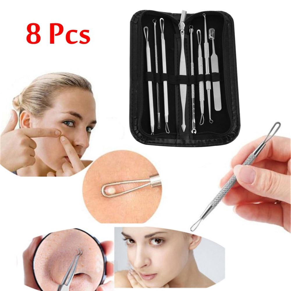 8 Pcs Stainless Steel Blackhead Remover Tool Kit