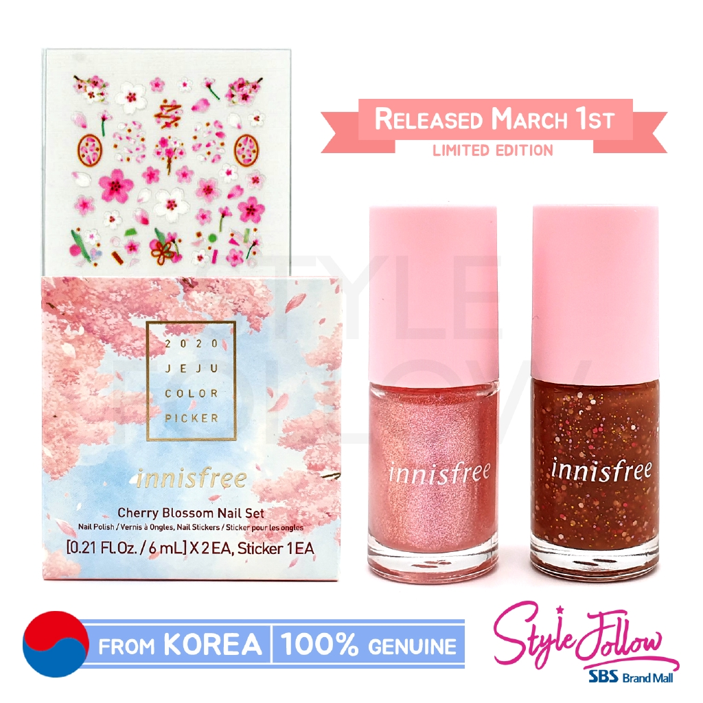 2020 New Innisfree Cherry Blossom Nail Set March 2020 New Release Shopee Indonesia