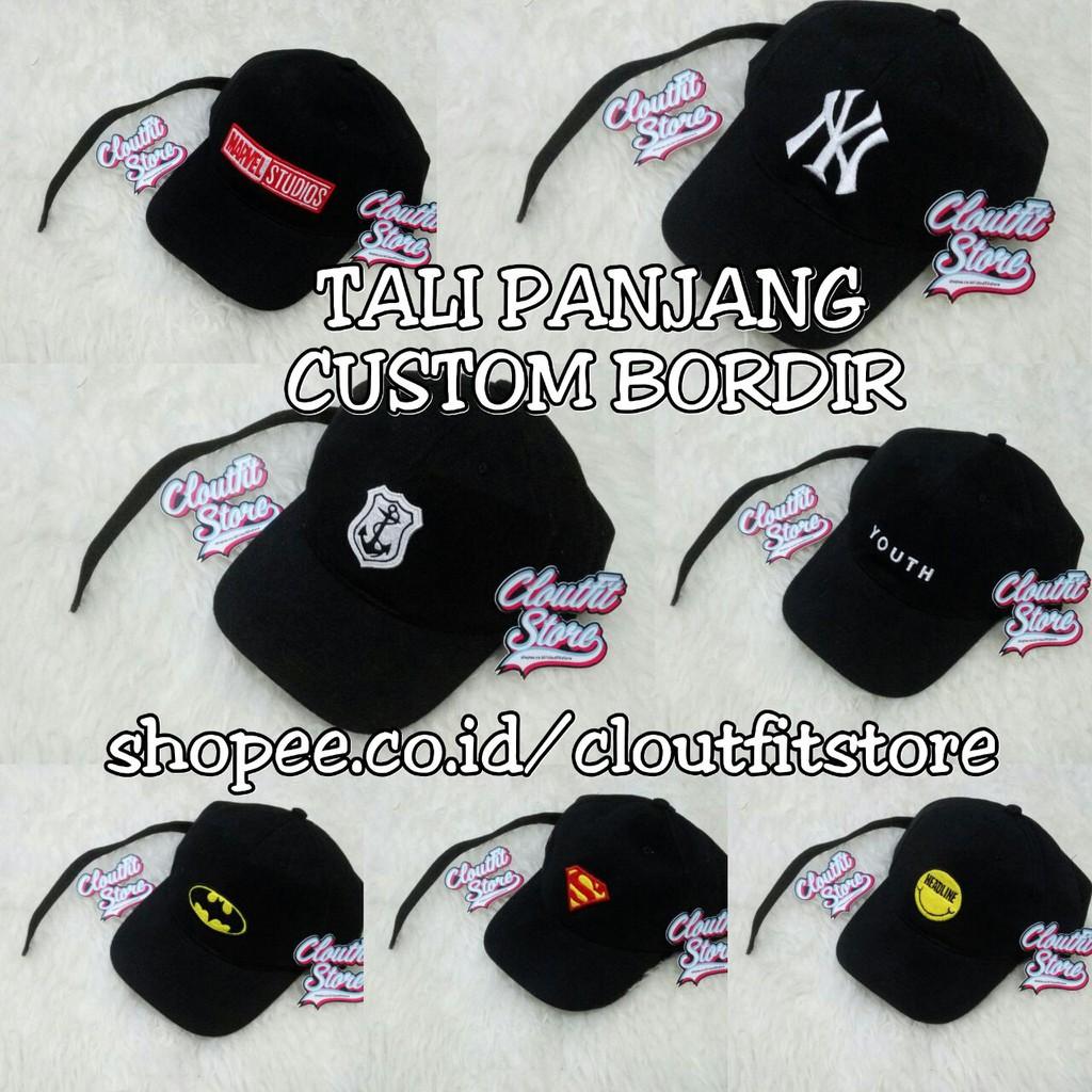 Topi Baseball PREMIUM Tali Panjang Bordir   Tumblr Custom SATUAN Panjang  a5f611d1bb