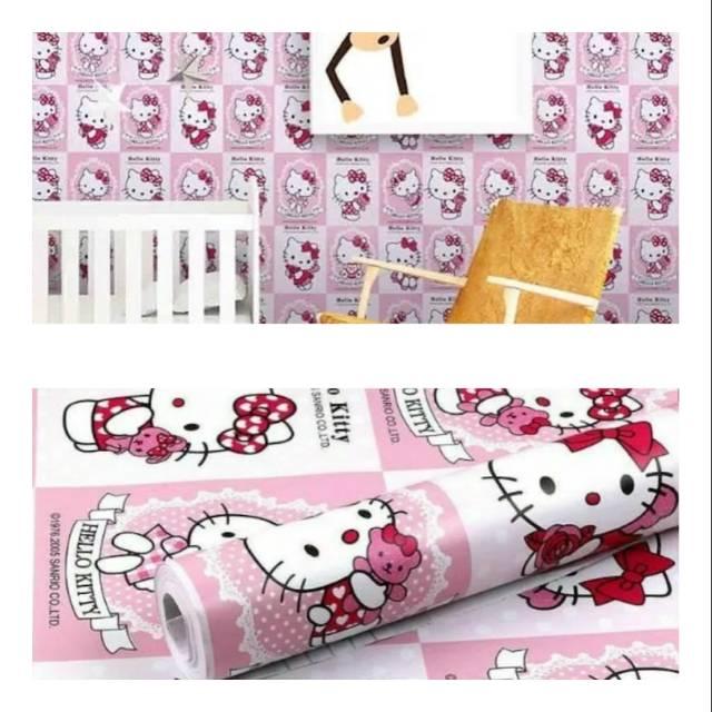 Wallpaper Dinding Murah Ruang Tamu Kamar Tidur Anak Hello Kitty Pink