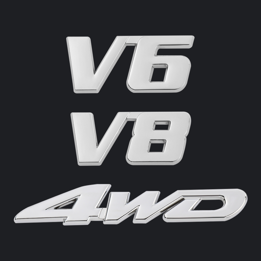 V6 Pattern Adhesive Metal Badge Emblem Sticker Decoration for Car Vehicle Chrome