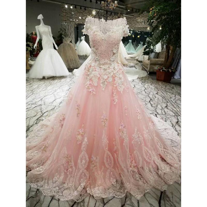 Gaun Pengantin 1711113 Pink Sabrina Ekor Wedding Gown Wedding Dress Shopee Indonesia