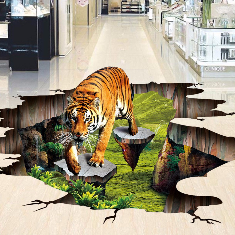 High Quality Kustom 3D Wallpaper Lantai PVC Tahan Air Perekat Diri Stiker Lantai Tiger Lantai
