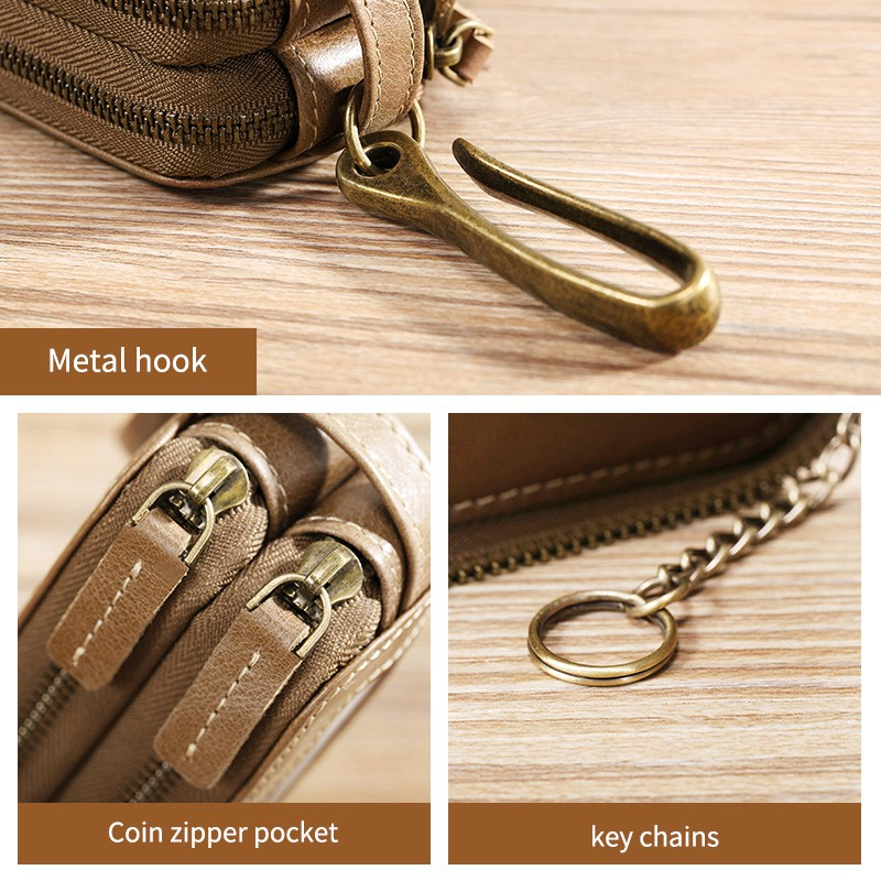 gold hardware brown and cream Cowhide leather key chain