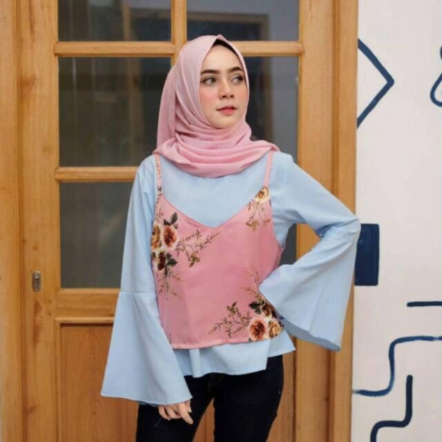 Atasan Poppy Bunga Maxmara Katun Shabby chic baju wanita overall murah  grosir floral hijab muslim  2ddfd4eb5e